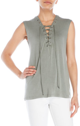 olivaceous Sleeveless Lace-Up Tank $74 thestylecure.com