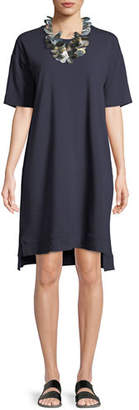 Eileen Fisher Slubby Organic Cotton Jersey Shift Dress, Petite