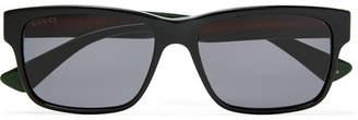 Gucci Square-Frame Striped Acetate Sunglasses - Men - Black