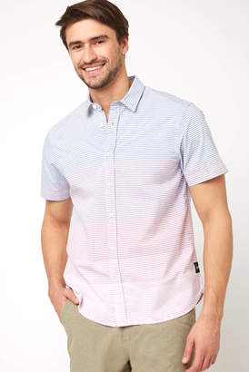 Scotch & Soda Ombre Striped Short Sleeve Button Down Shirt Blue Multi M