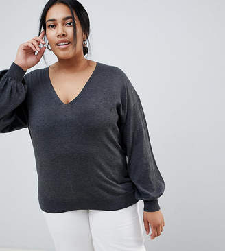 Asos DESIGN Curve eco v neck sweater with balloon sleeve