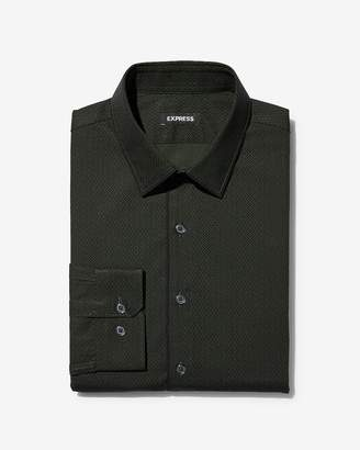 Express Extra Slim Piped Print Dress Shirt