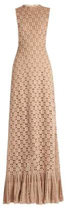 Ryan Roche - Ruffled Hem Cashmere Crochet Knit Maxi Dress - Womens - Beige