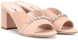 Miu Miu Crystal-embellished suede mules