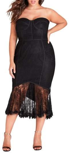 So Seductive Ruffle Hem Lace Body-Con Dress