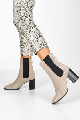 boohoo Elastic Panel Block Heel Sock Boots