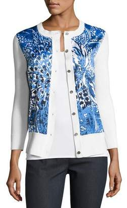 St. John Lotus Blossom 3/4-Sleeve Cardigan, White/Multi