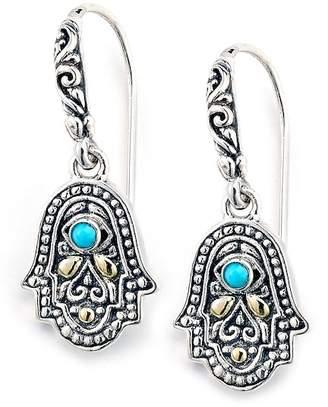 Samuel B Jewelry 18K Gold & Sterling Silver Sleeping Beauty Turquoise Hamsa Drop Earrings