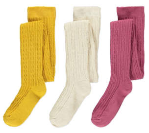 George Super Soft Cable Knit Tights 3 Pack
