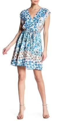Matty M Floral Surplice Crepe Dress
