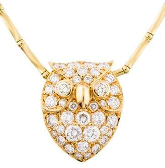 18K Diamond Owl Pendant Necklace