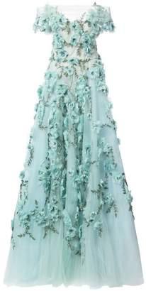 Marchesa off-the-shoulder floral-appliquéd gown