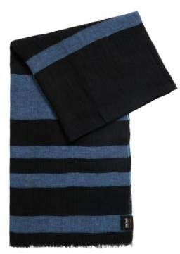 BOSS Striped linen scarf in mixed structures