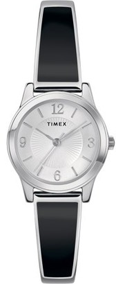 Timex Women's Stretch Bangle 25mm Black/Silver-Tone Watch, Expansion Band