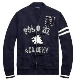 Polo Ralph Lauren Men's Regular Fit Cotton Letterman Cardigan - Navy - Size Medium
