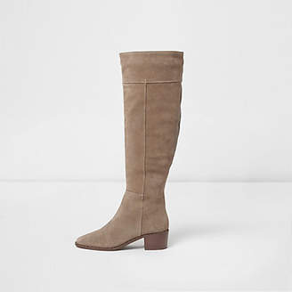 River Island Beige suede studded knee high suede boots