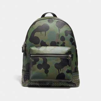 Coach League Backpack With Wild Beast Print And Studs