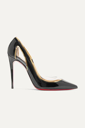 Christian Louboutin Cosmo 100 Metallic-trimmed Pvc And Patent-leather Pumps - Black