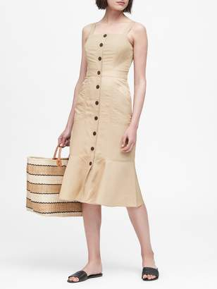 Banana Republic Linen-Blend Button-Front Dress