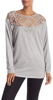 Couture Simply Crochet Knit Pearl Embellished Sweater