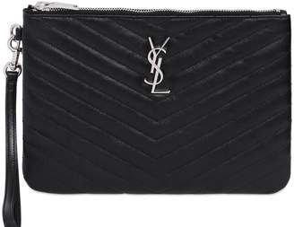 Saint Laurent Monogram Leather Pouch W/ Wrist Strap
