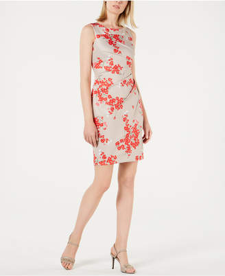 Calvin Klein Floral-Print Gathered Sheath Dress