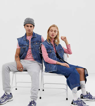 Collusion COLLUSION Unisex denim vest in light wash blue