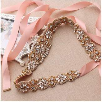 yanstar Wedding Bridal Belt for Wedding Dress Rose Gold Crystal Rhinestone Applique Beaded On Blush Wedding Belt Sash