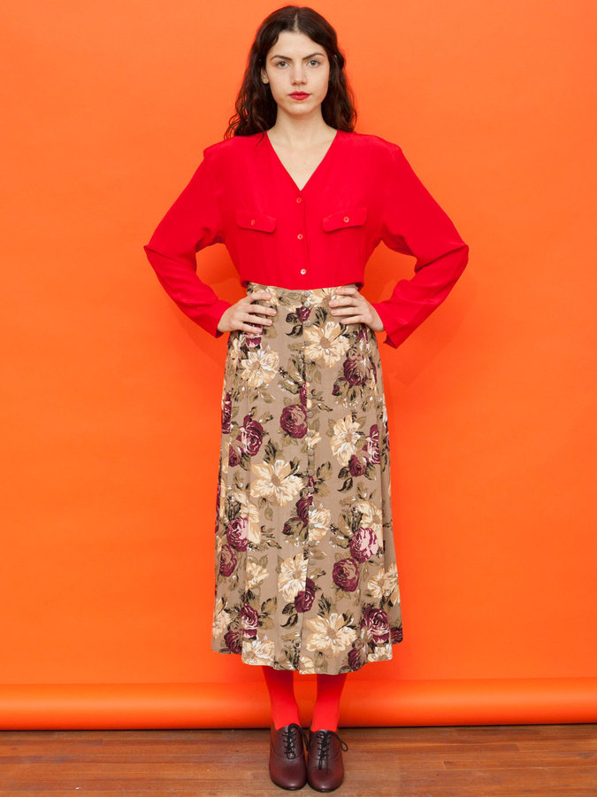 American Apparel Vintage Floral Buttoned Mid-Length Skirt