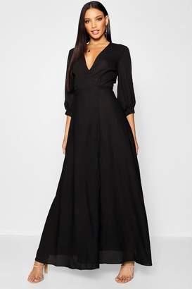 boohoo Blouson Sleeve Wrap Maxi Dress