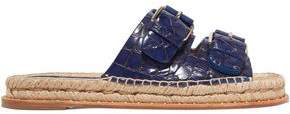 Paloma Barceló Rachele Buckled Croc-Effect Leather Espadrilles