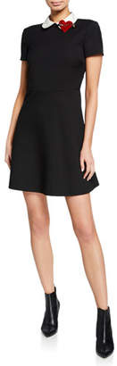 RED Valentino Peter Pan Collar Short-Sleeve Fit-&-Flare Dress w/ Heart Detail
