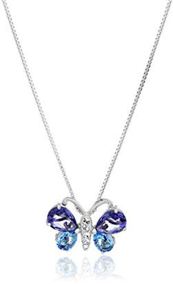 Swarovski Sterling Silver Blue and Butterfly with Elements Pendant Necklace