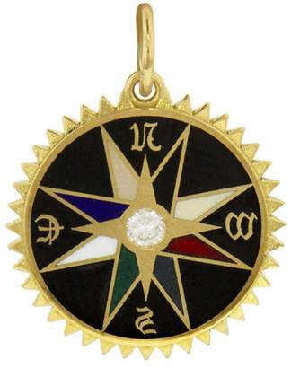 Foundrae Black Champlevé Course Correction Medallion - Yellow Gold