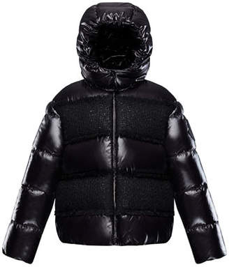Moncler Elbe Detachable-Hood Puffer Coat w/ Tweed, Size 4-6