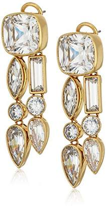Nicole Miller Mixed Cushion Two Row Gold/Clear Drop Earrings