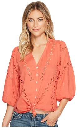 Lucky Brand Eyelet Peasant Blouse Women's Short Sleeve Button Up
