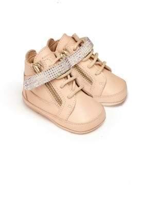 Giuseppe Zanotti Baby's Swarovski Crystal Embellished Leather Crib Sneakers
