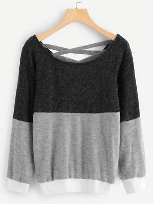 Shein Criss Cross Front Sweater