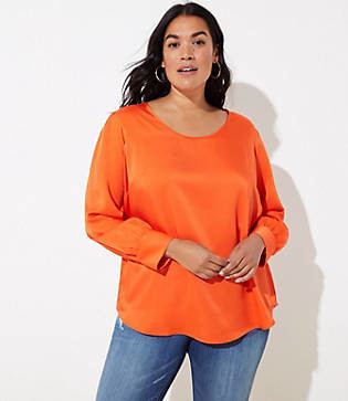 LOFT Plus Scoop Neck Puff Sleeve Blouse