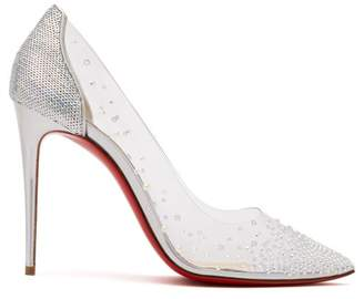 Christian Louboutin Degrastrass 100 Crystal Embellished Pvc Pumps - Womens - Silver