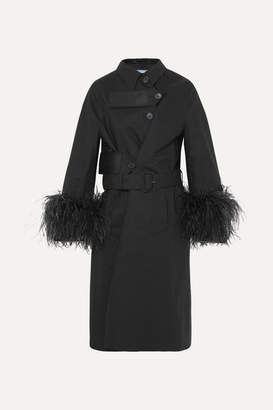 Feather-trimmed Cotton Trench Coat - Black