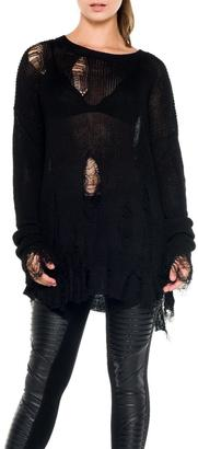 Bella Black Shredded Sweater $82 thestylecure.com