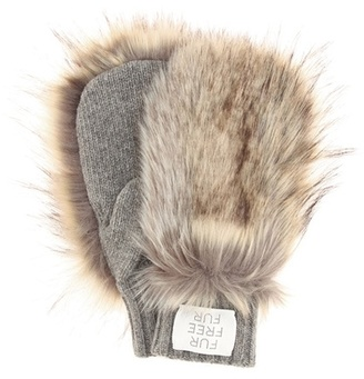 Faux fur-trimmed wool mittens