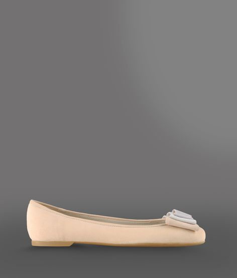 Emporio Armani Suede Ballet Flat With Rubber Sole