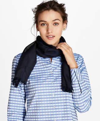 Brooks Brothers Sheer-Stripe Silk Oblong Scarf