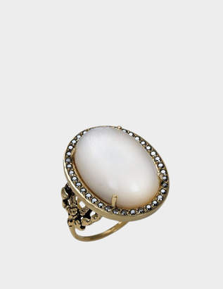 Feidt Paris Small Empire Ring in 9K Gold, Grey Sapphire and Onyx
