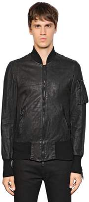 Giorgio Brato Zip-Up Washed Leather Bomber Jacket