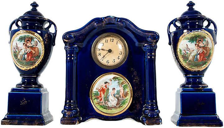 English Porcelain Deco Garniture