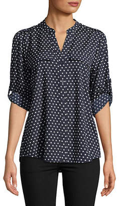 Calvin Klein Polka Dot Epaulette Button-Down Shirt